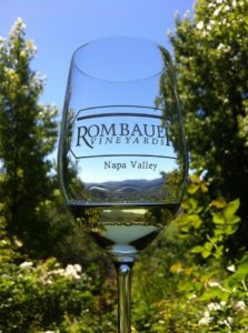Rombauer Glass with Vineyard in Background